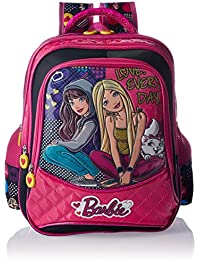 Barbie Polyester Pink And Black School Bag (Age Group :3-5 Yrs)