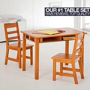 Lipper International Childs Rectangular Table And 2-chair Set Pecan from Lipper International