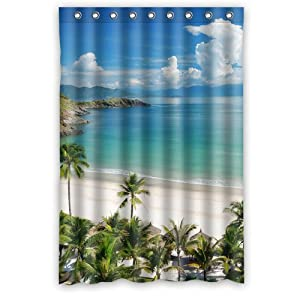 Morimo Tropical Beach Palm Tree Waterproof Shower Curtain 48 X 72 Inch