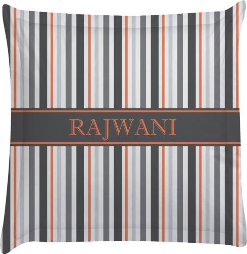 Grey Stripes Personalized Euro Sham Pillow Case front-982014