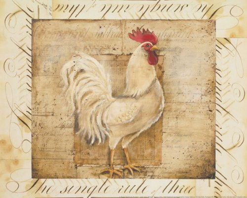 Rooster Country Kitchen Art Prints Home Decor 8 By 10 Inch Beige