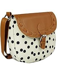 Ayeshu Black Polka Dot White Canvas Sling Bag