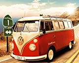 Vw Bus Transporter Poster California Camper Route