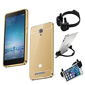 Aart Luxury Metal Bumper + Acrylic Mirror Back Cover Case For RedmiRedmi Note 3 Gold+ Flexible Portable Mount Cradle Thumb OK Designed Stand Holder
