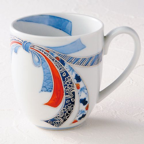 Kutani Yaki(Ware) Coffee Mug Silver Ribbon