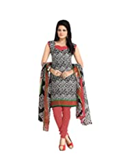 BanoRani Womens Black & Red Color PolyCotton UnStitched Dress Material