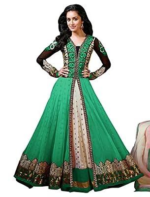 Sancom Green Semi Stitched Georgette & Net Anarkali Salwar Suit - Dress Material
