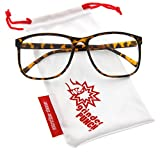 grinderPUNCH® Tortoise Large Nerdy Thin Plastic Frame Clear...
