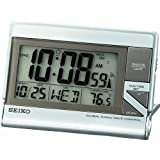 Seiko Advanced Technology Travel Alarm Clock Silver-Tone Metallic Case ~ Seiko