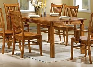 Coaster 100621 Mission Style Dining Table, Burnished Oak Solid Hardwood