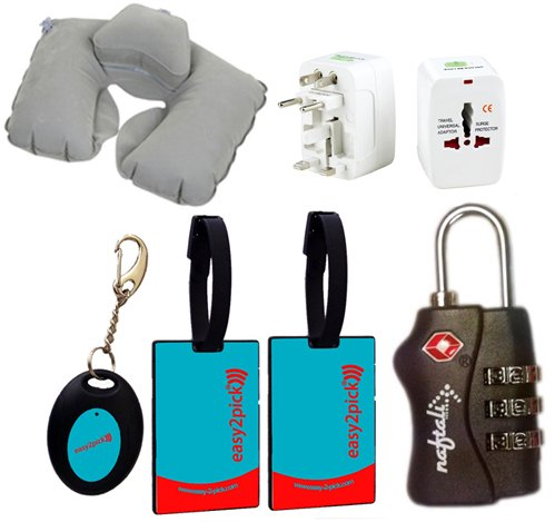 The Ultimate Traveler's Bundle, Deluxe Edition, Luggage Locator Kit with Inflatable Double Layer Pillow, TSA 3 Combination Lock and Travel Adapter