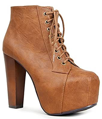 Speed Limit 98 Womens Rosa Chunky High Heel Lace Up Ankle Boot Bootie,5.5 B(M) US,Tan Pu