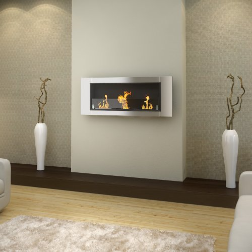 "54"" Wall Mount Stainless Steel Bio Ethanol Fireplace Heater Smokeless Burner Box"