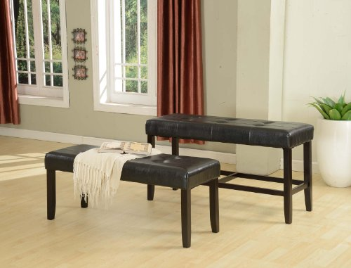 ... Recco Espresso Bonded Leather Counter Height Bench, 25-Inch - Fedullys