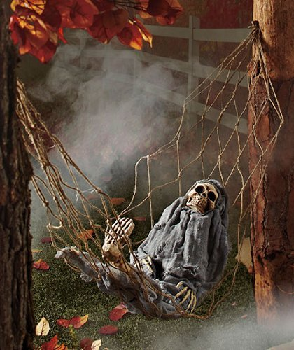 Halloween Skeleton in Hammock Scary Interative to Sounds / Movement (Scary Outdoor Halloween Decorations)