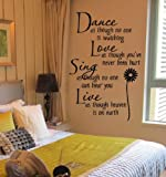 Homemay Dance as though no one is watching...vinyl Wall Decal Quote Wall Lettering Art Words Wall Sticker Home Decor 70X45CM