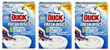 3 x Toilet Duck Fresh Discs Marine 6 Shot Toilet Gel Cleaner & Applicator