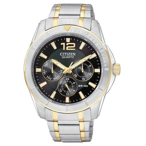 Citizen Quartz Black Dial Men'S Watch - Ag8304-51E