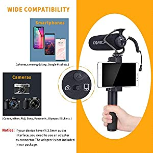 Comica CVM-V30 LITE Video Microphone Super-Cardioid Condenser On-Camera Shotgun Microphone for Canon Nikon Sony Panasonic Camera/DSLR/iPhone Samsung Huawei with 3.5mm Jack(Black) (Color: CVM-V30 LITE B)
