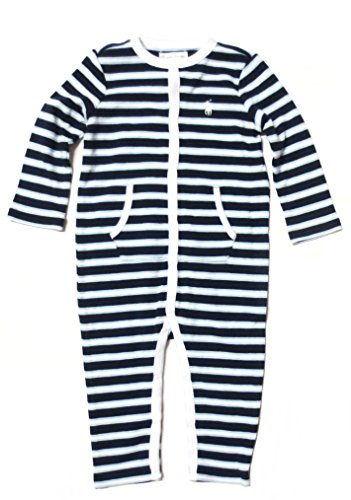 Ralph Lauren Baby Boys' Striped Coverall Bodysuit (9 Months, Navy Blue / White Pony) front-1000684