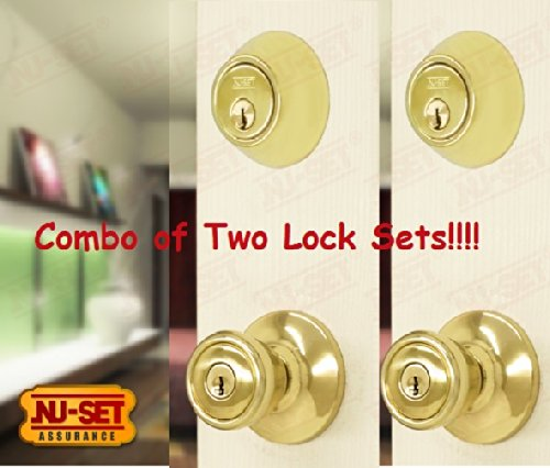 Nuset Door Lockset Of 2 Entry Door Knobs And 2 Double Cylinder Dead Bolts front-807132