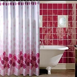 welwo rideau de douche et rideau de douche textile tissu anti moisissure fleurs blanc violet. Black Bedroom Furniture Sets. Home Design Ideas