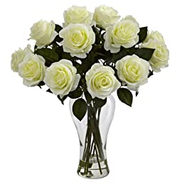 Nearly Natural 1328-WH Blooming Roses with Vase, White