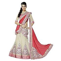 Khazanakart Exclusive Designer Peach Color Net Fabric Un-stitched Lehenga Choli With Chiffon Dupatta Material.