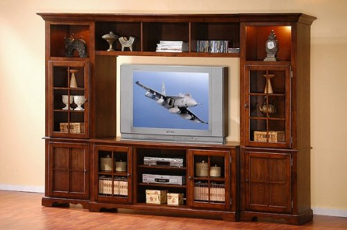 Image of Contemporary Merlot Oak Finish Entertainment Center Plasma TV Stand (VF_AZ00-10849x29894)