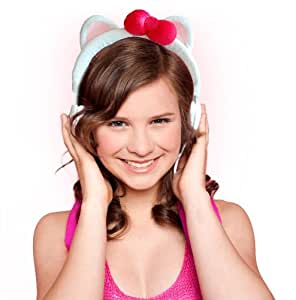 White Kitty Plushy Animal Headphones for iPhone, iPad and Android Smart Phones and Tablets..