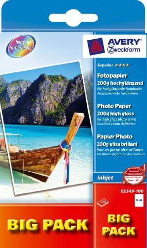 Zweckform BIG PACK papier photo jet d'encre,10 x 15 cm200 g/m2, brillant contenu: 2 x 50 feuilles...