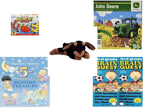 Children's Gift Bundle - Ages 3-5 [5 Piece] - Original Memory Game - Horses, Apples, Planes Edition - John Deere Hay Harvest 60 Piece Puzzle Toy - Ty Beanie Baby - Doby the Doberman - Precious Momen (Brain Quest Grade 4 3rd Edition compare prices)