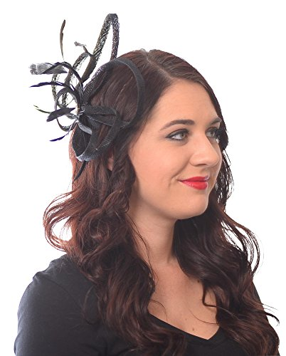 Mademoiselle Fascinator Hat with Sinamay Loops Feathers and Pearl Center Tea Party Derby Wedding Accessory (Black)