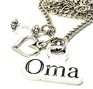 "Oma Cluster Pewter Charm 18"" Fashion Necklace"
