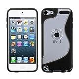 MYBAT Unique Transparent  S Shape Protective Case for iPod touch 5 (Solid Black)