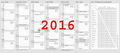 Taschenkalender Ersatzkalendarium 2016 Jahresüberblick Monatsüberblick Kalender 10-70010