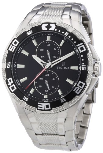 Festina F16663/4 - Reloj analógico de cuarzo para hombre, correa de acero inoxidable color plateado