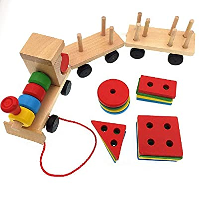 CECII Wooden Stacking Train With 20Pcs Colorful Matching Geometry Shape Blocks