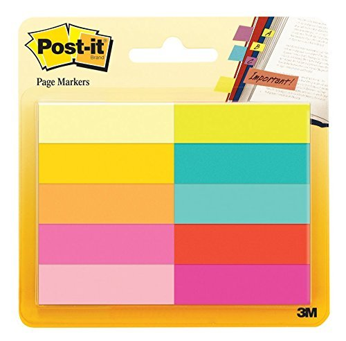 Post-it Page Markers, Assorted Bright Colors, 1/2 x 2-Inches, 50-Markers/Pad, 10-Pads/Pack, 2-Pack (Color: Assorted Bright Colors, Tamaño: 2 Pack)