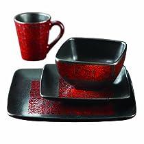 American Atelier Yardley 16-Piece Dinnerware Set, Red