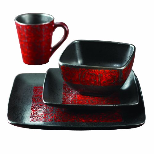 American Atelier Yardley 16-Piece Dinnerware Set, Red (Red And Black Dishes compare prices)