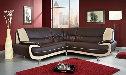Astounding Best Deal Brand New Kara Olaf Faux Leather Corner Sofa Brown Gmtry Best Dining Table And Chair Ideas Images Gmtryco