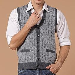 Tourwin Men Vest Fall Winter Woollen V-neck Button Warm Cardigan Waistcoat Knit Sleeveless Sweater