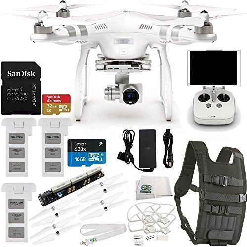 DJI Phantom 3 Advanced Quadcopter Drone w/ 2.7K HD Video Camera & Manufacturer Accessories + 2 Extra DJI Intelligent Flight Batteries + Backpack Strap Carry System for DJI Quadcopter Drones + MORE
