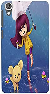 PrintVisa 3D-HTCD820-D7696 Cartoon Rainy Girl Case Cover for HTC Desire 820