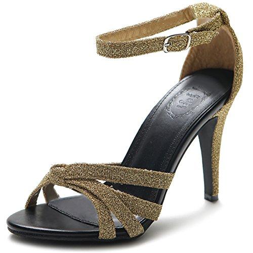 Ollio Women's Shoe High heel Glitter Ankle Strap Sandal (10