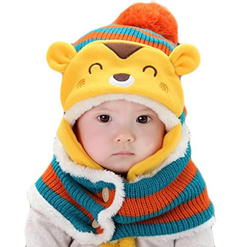 FEITONG Autumn Winter Baby Kids Girls Boys Warm Woolen Coif Hood Scarf Caps Hats (Orange)