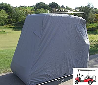 """Deluxe 4 Passenger Golf Cart Cover roof 80""""L (Grey, Taupe, Green, or Black), Fits E Z GO, Club Car and Yamaha G model - Fits GEM e2"""