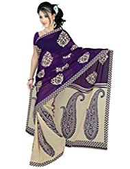Anand Sarees Purple Cream Color Georgette Printed Saree