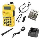 Two-way Radio Uv-5r Fm Transceiver+dual Band UHF 400-520mh VHF 136-174mhz Uv5r+plug Us(yellow)